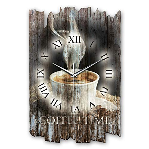Kreative Feder Kaffee Shabby Style Designer Wanduhr Funkuhr aus Holz *Made in Germany leise ohne Ticken WH004FL (leises Funkuhrwerk)