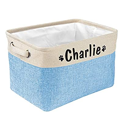 PET ARTIST Collapsible Dog Toy Storage Basket Bin with Personalized Pet's Name - Rectangular Storage Box Chest Organizer for Dog Toys,Dog Coats,Dog Clothing,Dog Apparel & Accessories,Blue