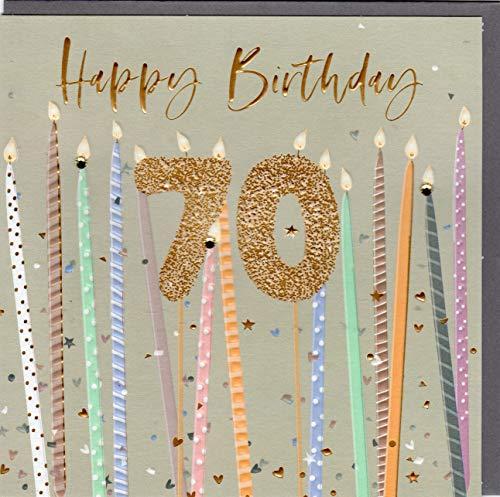 Belly Button Designs Specjalna kartka z życzeniami na 70. urodziny z wytłoczeniem i kryształami, idealna również na prezent pieniężny lub bon podarunkowy. BE241