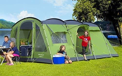 BERGER Familienzelt Asmera 6 Deluxe Tunnelzelt Camping Zelt Festival WS5000mm Schlafkabine Wohnen