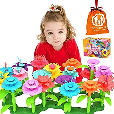 Semaco Flower Garden Building Toys, 109 PCS Growing Stacking Blocks Playsets for Kids, Educational Pretend Play Set Preschool Activity Gift for Age 3, 4, 5, 6, 7 Years Old Toddler Boys Girls