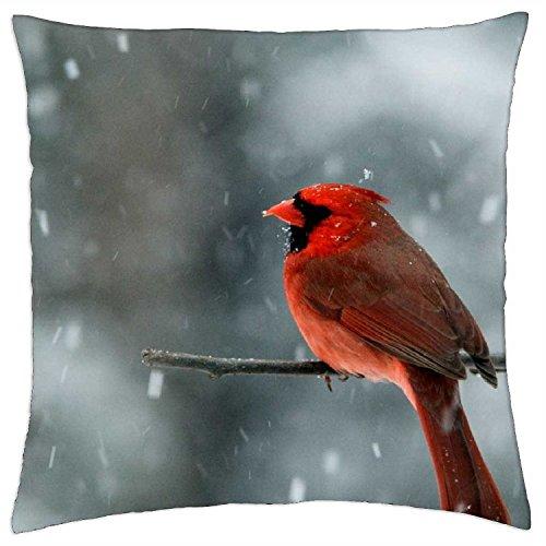 Bird in a Snowstorm - Throw Pillow Cover Case (18