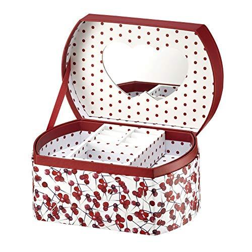 Ambition szkatułka na biżuterię damska Holly truskawka 16,5 x 11 x 8,5 cm, szkatułka na biżuterię, pudełko do przechowywania z przegródkami, lustro, stylowa, biało-czerwona