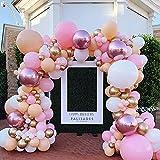 Rosa Palloncini Arco Kit, 106 Pezzi Rosa Ghirlanda Palloncini, Bianchi oro e Rosa Ghirlanda Arco Palloncini Festa per Matrimonio Bride Battesimo Bambino Rosa Palloncini Compleanno Decorazione