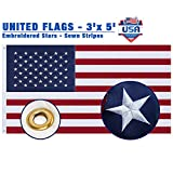 duduta 3x5 ft Embroidered Stars USA Flag, Heavy Duty 210D Nylon American Flag Outdoor Indoor, Swen Stripes Reinforced Header Brass Grommets
