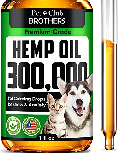 PETCLUBBROTHERS B Hemp Oil for Dogs & Cats 300,000 - Premium Hemp Seed Oil - Grown & Made in USA - Supports Hip & Joint Health - Natural Stress & Anxiety Relief - Pet Omega 3, 6 & 9-1 fl oz (30ml)