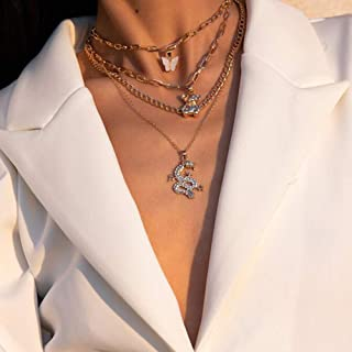 YERTTER Retro Multi-layer Chunky Chain Bear Necklace Butterfly Dragon Pendant Necklace Set for Women Girls