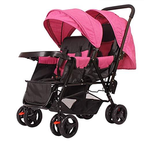 Moolo Kinderwagen Doppelkindlaufkatze, Zwillingswagen für Kinder, Leichter, faltender zweisitziger Kinderwagen mit Speiseteller (Farbe : Rose rot)