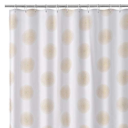 Cortina confeccionada de baño contemporánea Blanca y Dorada de Tela de poliéster, de 180x200 cm - LOLAhome