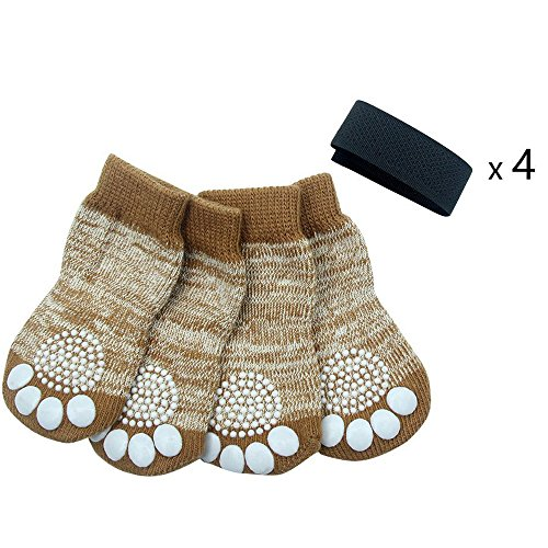 PUPTECK Anti-Slip Dog Socks Pet Paw Protection for Indoor Wear Medium