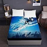 comfort sábanas,Sábanas ajustables con estampado de aviones para cama individual doble tamaño king Sábanas 3D de bolsillo profundo 30 cm - Microfibra suave Cuidado fácil Reducción de encogimiento-El