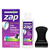 Zap Lice Treatment Extra Strength - Lice Shampoo That Kills Eggs and Lice - Lice Kit Comb Included 4 FL OZ.