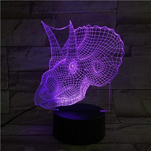 3D Illusion LED Triceratops lampe USB Charge multi-couleur Décor Salon artistique Veilleuse Lampe enfant anniversaire Cadeaux de Noël lumière de nuit