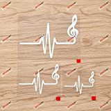 Treble Clef Heart Beat Music Notes Decal Vinyl Sticker - 3 Pack White, 3 Inches, 4 Inches, 6 Inches - No Background for Car Boat Laptop Cup Phone
