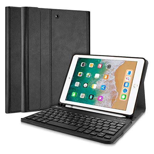 ProCase Tastiera Custodia per iPad 9.7  2018 2017(QWERTY), Smart Slim Pelle PU Cover con Rimovibile Wirless Tastiera Magnetica per iPad 9.7 Pollice 6A Gen 2018  5A Gen 2017 -Nero