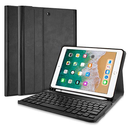 ProCase iPad 9.7 2018 2017 (6e / 5e Gen) Toetsenbord Case met Potloodhouder, Slim Lichtgewicht Smart Cover met Magnetisch Afneembaar Toetsenbord -Zwart