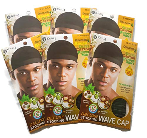 Healthy Treated Wave Deluxe Stocking Wave Cap Black (6 Packs)