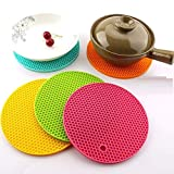 MV Round Hot Pot Holder Heat Resistant Disc Pads Kitchen Insulation Anti-Slip Coasters Dining (4 Piece - Multicolour) Silicone Table mat Set,Silicon Round mat for Kitchen,Heat Resistant mat