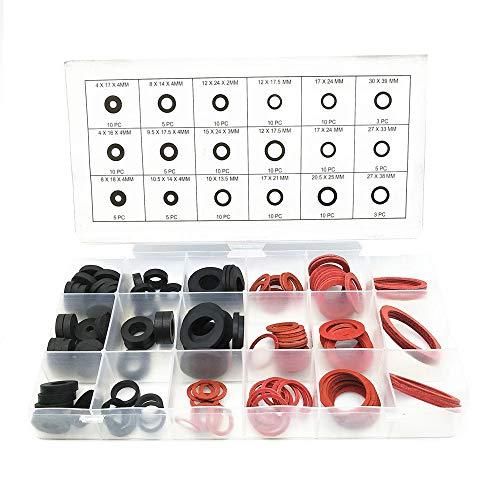 Set Dichtungsringe, 141 Stück O Ring Dichtung, Unterlegscheiben Gummi, Standard Dauerhaft Flache Runde Distanzscheiben mit 18 Größen für Schlauch, Sanitär, Wasserhähne (Schwarz, Rot)
