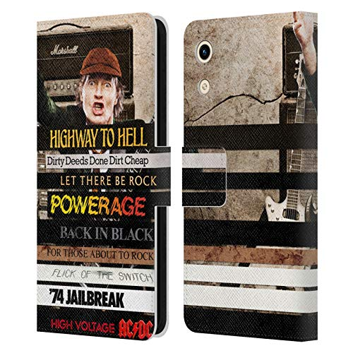 Head Hülle Designs Offizielle AC/DC ACDC Album Titel Collage Leder Brieftaschen Handyhülle Hülle Huelle kompatibel mit Huawei Honor Play 8A