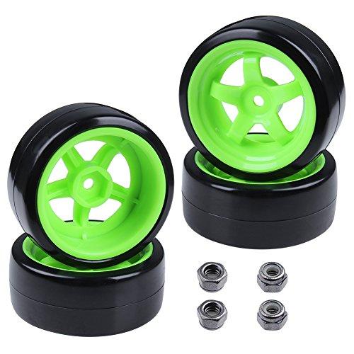 Hard Plastic 26mm RC Drift Car Tires & Wheel Rims Green 12mm Hex for 1/10th Model (Pack of 4)