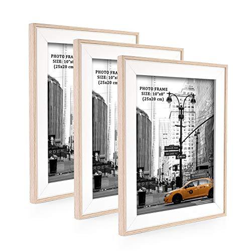Metrekey 3er Set Bilderrahmen 20x25 cm Natur Holzmaserung aus MDF mit Echtglas Deko Fotorahmen für Foto Urkunden wandhängend oder freistehen