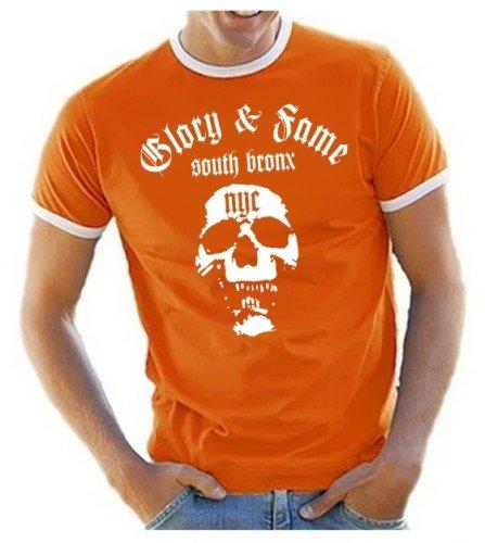 GLORY & FAME - NYC - SHIRT T-SHIRT - south bronx RINGER T-SHIRT orange Gr.L