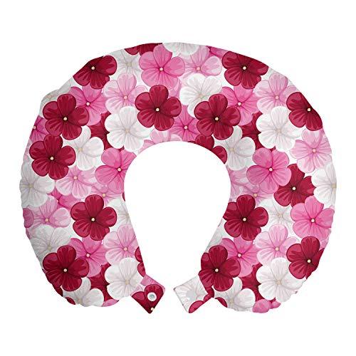 ABAKUHAUS Blumen Reisekissen Nackenstütze, Blossom Malve Blume, Schaumstoff Reiseartikel für Flugzeug und Auto, 30x30 cm, Rosa Himbeere Weiß