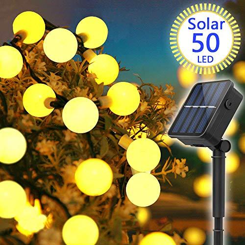 Solar Lichterkette Außen, ORSIFOW 7Meter 50er LED Solar Lichterkette WarmeWeiß mit Lichtsensor 8 Modi IP65 Wasserdicht, Lichterkette Außen für Garten, Bäume, Balkon, Party, Weihnachts Deko