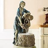 HQL Fontana Rustica da Tavolo, Cascata Interna dei Pozzi dei Desideri, Ornamento per Fontana da Tavolo a 2 Livelli, Statua della Ragazza dei Desideri retrò, Regali per Mamma/Donne/Ragazze