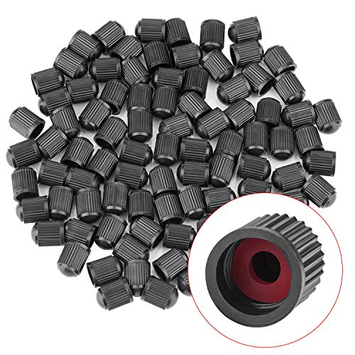 Tire Valve Stem Caps (150 Pack) Black with Sealing Ring, General for Car, Motorcycles, Bicycles and Trolleys