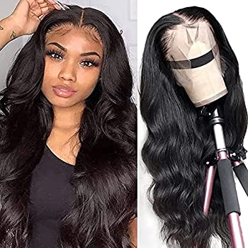 Lace Front Wigs Human Hair Body Wave 13x4 Human Hair Wigs for Black Women 150% Density Glueless Lace Frontal Wigs Brazilian Virgin Human Hair Pre Plucked Bleached Knots 20 Inch Body Wave Wigs