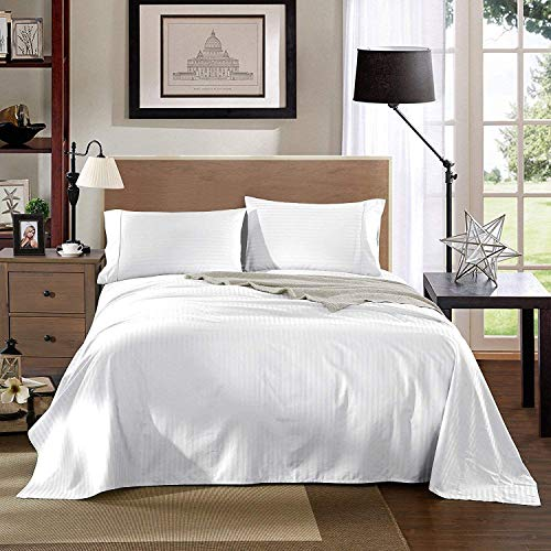 AMZIA Duvet Cover - Ultra Soft and Breathable Duvet Cover Set - Luxury Hotels Quality 300 Thread Count 100% Polycotton Sateen - Beautiful Satin Stripe Duvet Bedding Set, White Stripe. (Super King)
