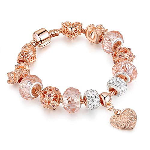 Armband Gold Crystal Bear Armbänder & Armreifen für Frauen Charm Heart BraceletsSchmuck Handmade Snap Button Bracelet