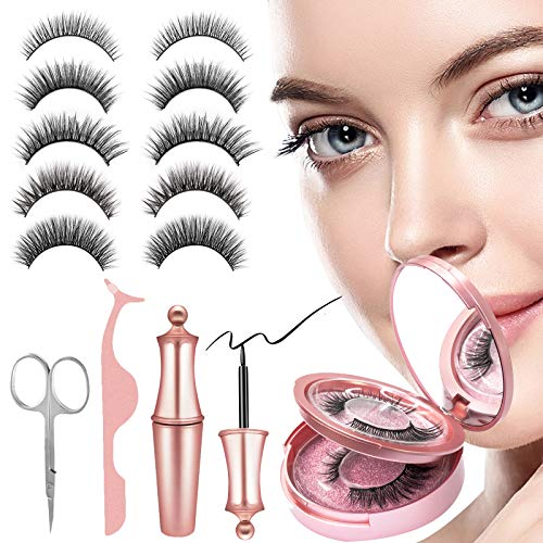 Magnetische Wimpern, 5 Paar Magnete Eyelashes mit Magnetischen Eyeliner Set, Wasserdichtem...