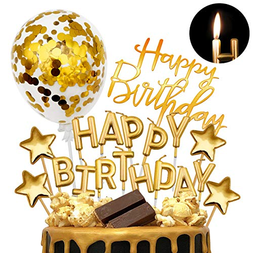 iZoeL Tortendeko Rosegold Gold Silber Happy Birthday Kerzen Konfetti Luftballon Sterne Cake Topper Kuchendeko Rosa Gold Geburtstag Dekoration (Gold)