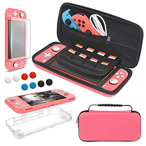 Carrying Case Plus TPU Case Cover and Screen Protector for Nintendo Switch Lite, 4 in 1 Accessories Kit, Portable Carrier Travel Bag Case Comes with 8 Game Card Slots for Switch Lite 2019 (Coral)