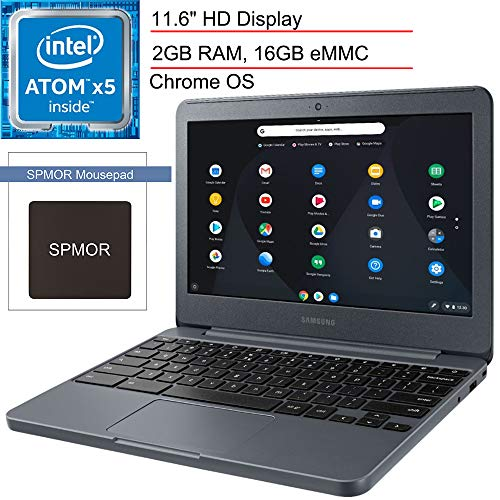 "2020 Samsung 11.6"" Chromebook Laptop Computer for Business Student, Intel Atom x5-E8000 Quad-Core up to 2.0GHz, 2GB RAM, 16GB eMMC, 802.11ac WiFi, USB 3.0, Night Charcoal, Chrome OS, SPMOR Mouse Pad"