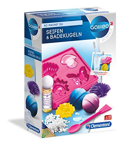 Clementoni 59013 Galileo Science – Seifen und Badekugeln, Spielzeug für Kinder ab 8 Jahren, bunte Seifen & sprudelnde Badebomben zum Selbstmachen, duftender Badezusatz