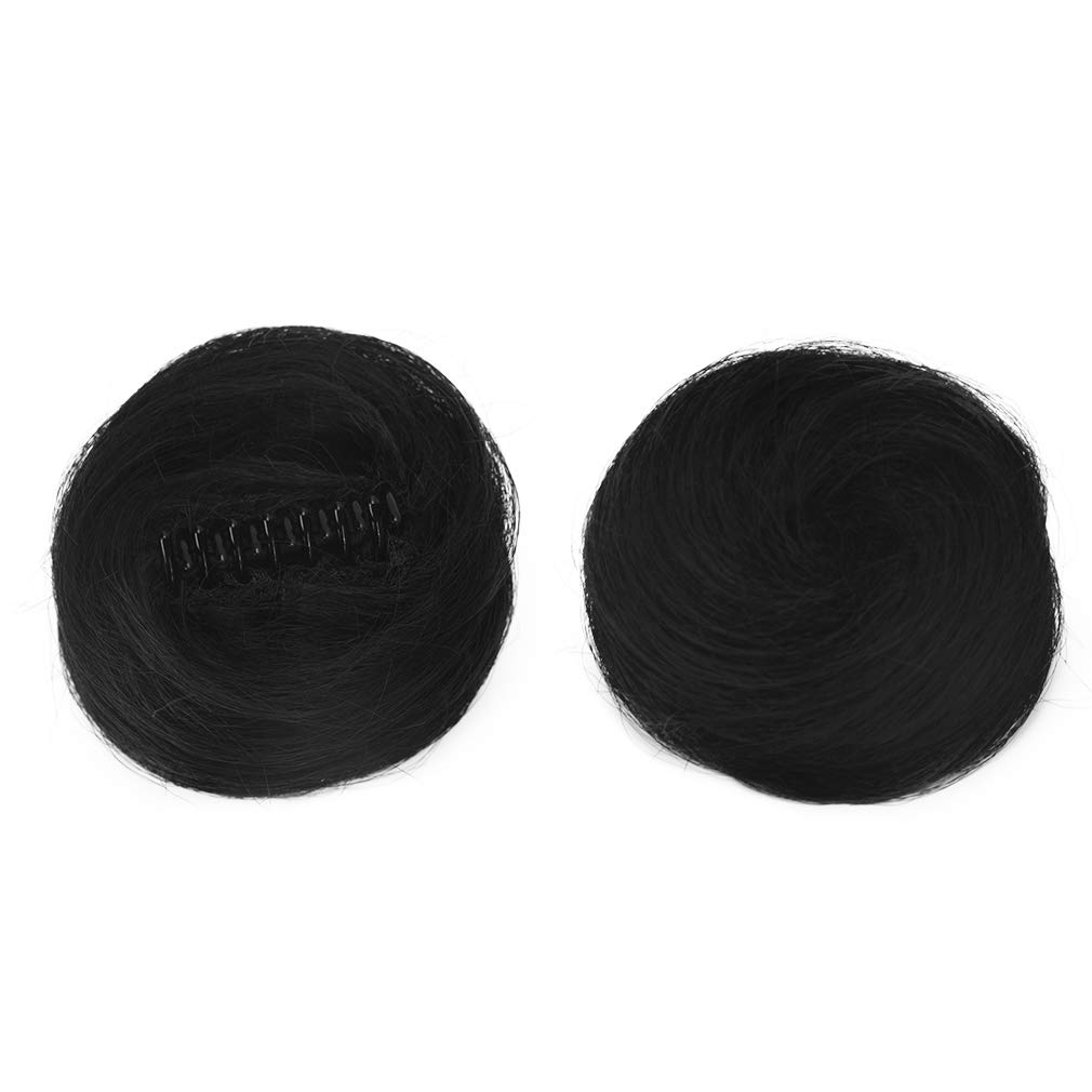 REECHO 2 PCS Mini Claw Clip in Messy & Cat Ears Hair Buns Extensions Wig Accessory Updo Hair Pieces for Women Girl- Natural Black