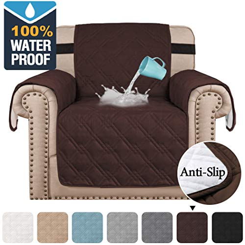 H.VERSAILTEX 100% Waterproof Sofa Slipcover Chair Cover Furniture Protector Sofa Covers for Living Room Non-Slip Couch Cover for Dogs Pets Kids (Chair Seat Width 21', Brown)