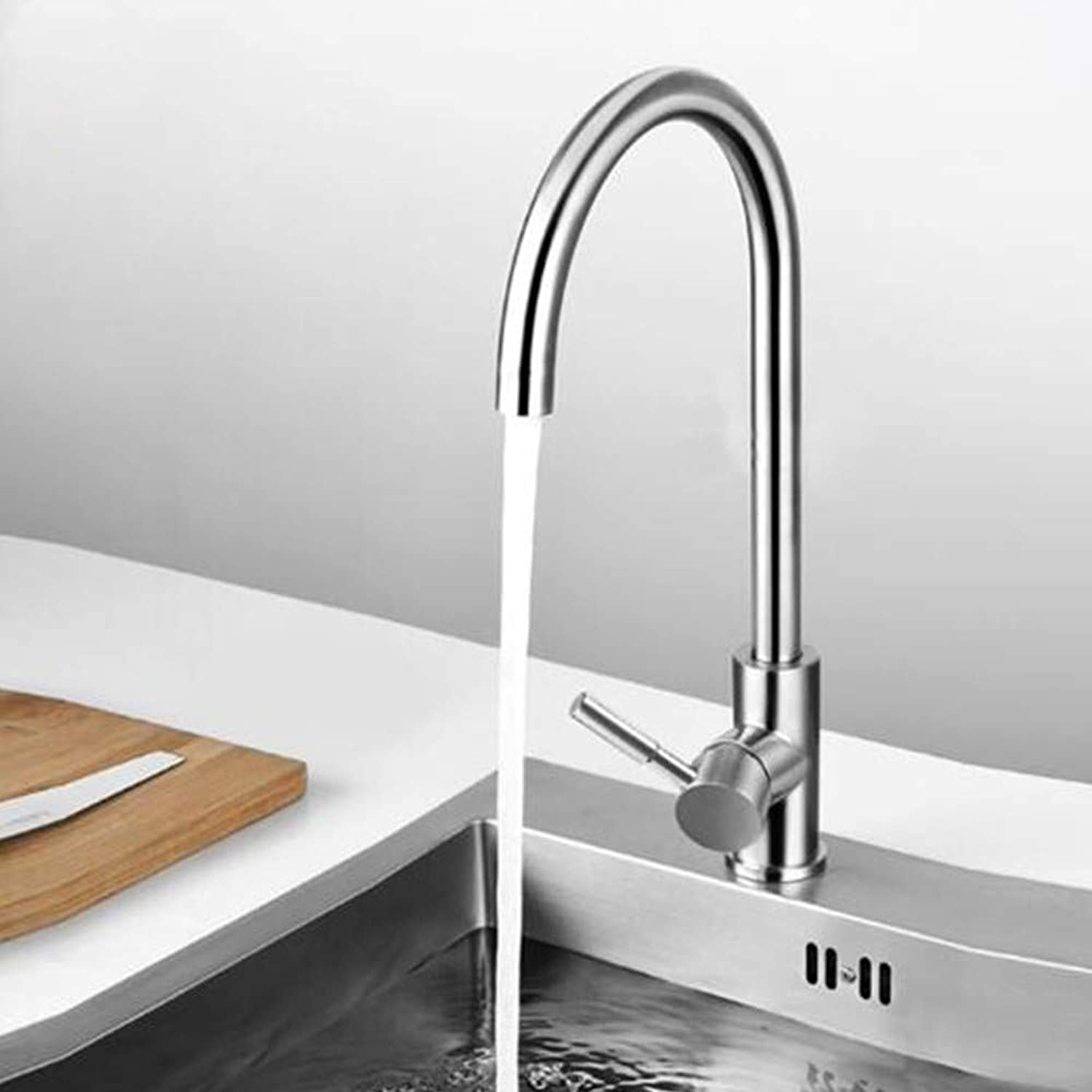 Water Tap Modern Kitchen Copper Main Body Hot and Cold Stainless Steel Sink Mixer Single Handle 360° redating Sink Faucet, Hot and Cold U-Shaped