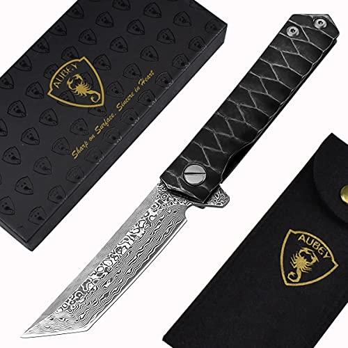 AUBEY Messer Damast Klappmesser Outdoor Taschenmesser Scharf Angelmesser EDC Damastmesser Survival Jagdmesser Damaststahl Knife