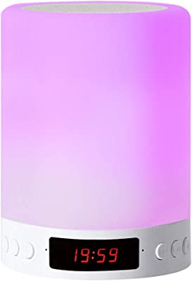 RBNANA Lámpara de altavoz Bluetooth, luz nocturna LED inteligente con reloj despertador, radio FM, lámpara de mesa, interruptor de luz nocturna con 3 modos regulables táctiles y 7 colores