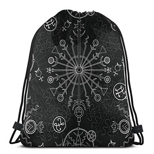 wallxxj Cinch Bags White Mystic Occult Symbole Zeichen Zodiac Vintage Print Langlebige Kordelzug Rucksack Rucksack Student Umhängetaschen Casual Gym Bag Adult Cinch Taschen Print Gemütlich