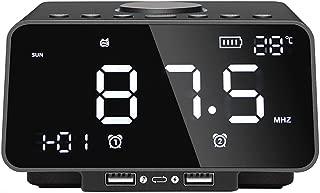 GLJJQMY Smart Bluetooth Speaker Electronic Alarm Clock USB Charging Song Large LED Display Sound (Color : Black)