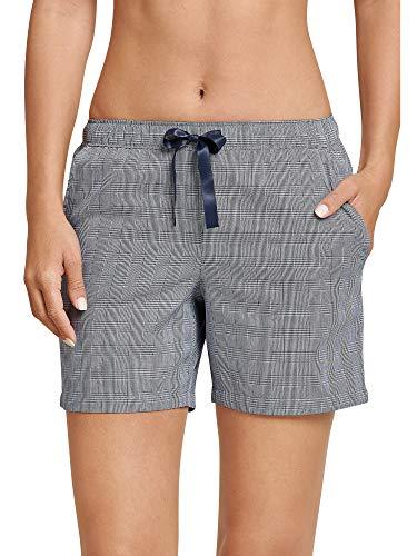 Schiesser Damen Web Shorts, Peached Schlafanzughose, Blau (Nachtblau 804), 40