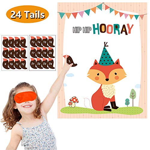 MISS FANTASY Woodland Party Supplies Pin The Tail on The Fox Woodland Party Games Activities Favors for Kids Set of 24 Stickers