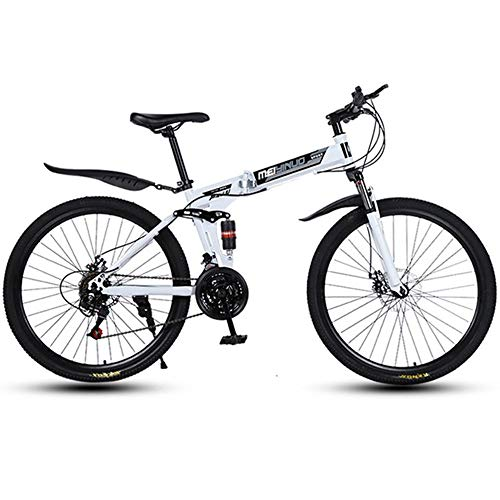 WGYBREAM Vélo VTT, Vélo Tout Terrain, Vélo de Montagne, Pliable Ravine Bike Full Suspension Vélos Cadre en Acier au Carbone Double Frein à Disque 26inch Roues Spoke (Color : White, Size : 21-Speed)