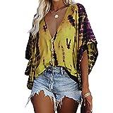 Elesoon Camisa de verano para mujer con rayas de tie-dye para trajes de baño de encubrimientos de talla grande, de chifón de murciélago, A-amarillo, 36
